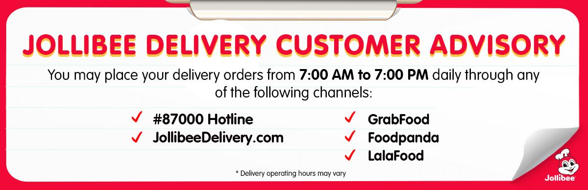 Jollibee Delivery Customer Advisory - JollibeeDelivery.com - Desktop