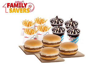 Snack Time Bundle: 4 Yumburger, 4 Reg. Fries, 4 Choco Sundae