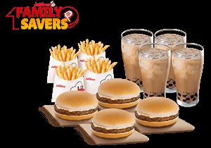 Snack Time Bundle: 4 Yumburger, 4 Reg. Fries, 4 Iced Coffee w/ Coffee Jelly
