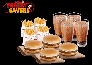 Snack Time Bundle: 4 Yumburger, 4 Reg. Fries, 4 Milk Tea w/ Pearls