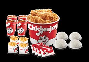 Chickenjoy Bucket w/ Rice, Sides, Pies & Drinks