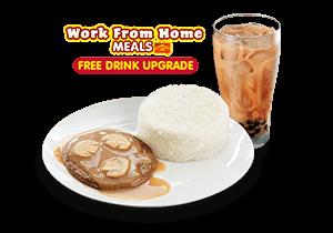 1-pc. Burger Steak & FREE Upgrade to Brown Sugar Milk Tea w/ Pearls