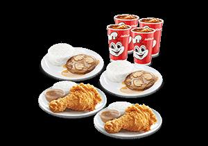 2 1-pc. Chickenjoy and 2 1-pc. Burger Steak w/ 4 Regular Iced Tea