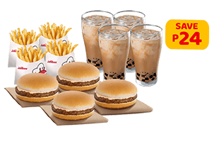 Yumburger Family Savers with Iced Coffee