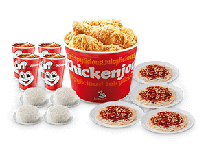 Chickenjoy Bucket w/ Rice, Jolly Spaghetti & Drinks