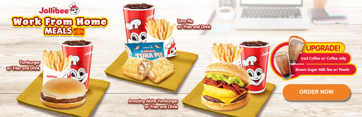 Work From Home Meals - Yumburger, Tuna Pie, Amazing Aloha Yumburger - Jollibee Delivery - Desktop